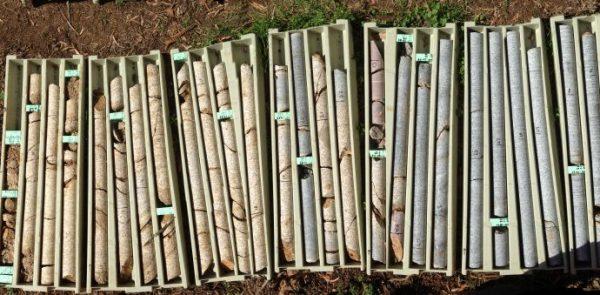 Drill core in boxes
